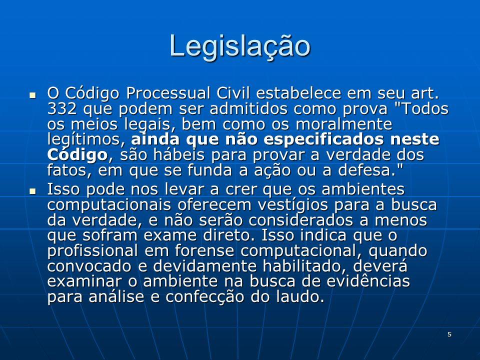 5 Legislação O Código Processual Civil estabelece em seu art. 332 que podem ser admitidos como prova