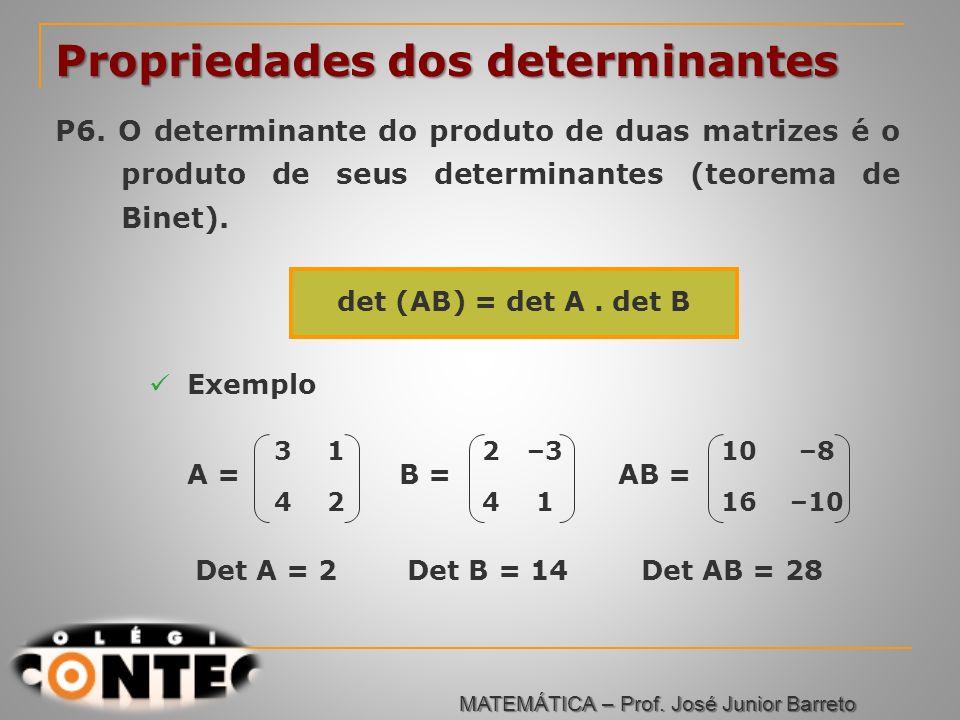 Prof. Jorge Propriedades dos determinantes P6. O determinante do produto de duas matrizes é o produto de seus determinantes (teorema de Binet). det (A