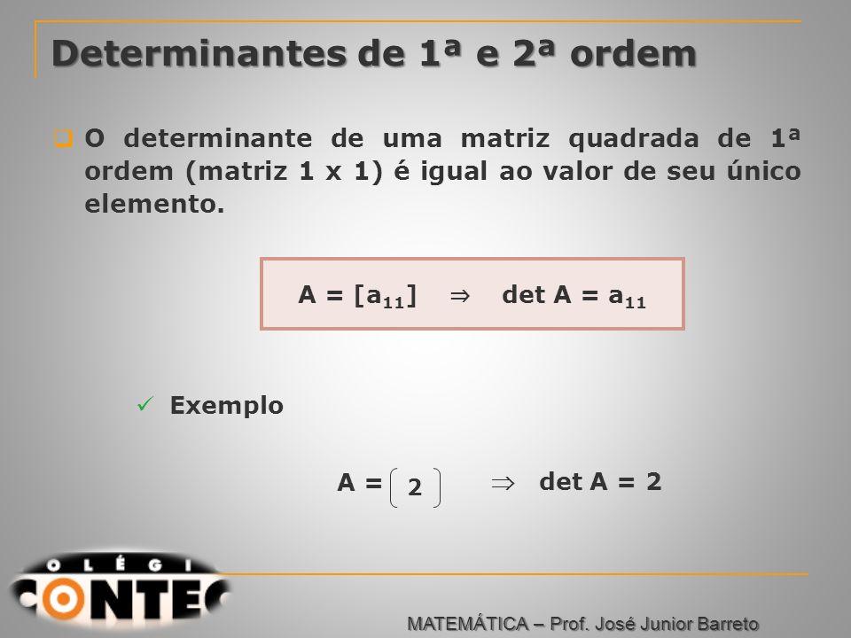 Prof. Jorge Determinantes de 1ª e 2ª ordem O determinante de uma matriz quadrada de 1ª ordem (matriz 1 x 1) é igual ao valor de seu único elemento. Ex