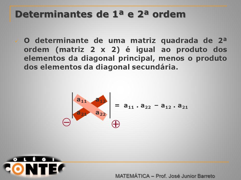 Prof. Jorge Determinantes de 1ª e 2ª ordem O determinante de uma matriz quadrada de 2ª ordem (matriz 2 x 2) é igual ao produto dos elementos da diagon