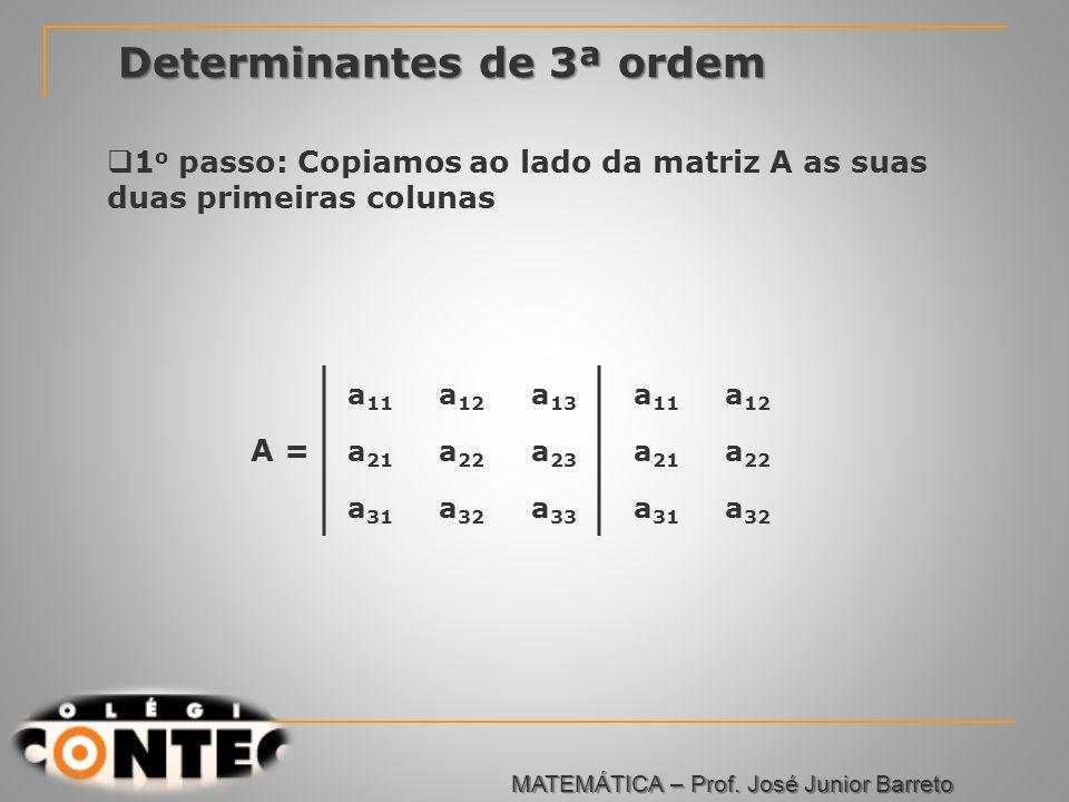 Prof. Jorge Determinantes de 3ª ordem a 11 a 12 a 13 a 21 a 22 a 23 a 31 a 32 a 33 a 11 a 12 a 21 a 22 a 31 a 32 A = 1 o passo: Copiamos ao lado da ma