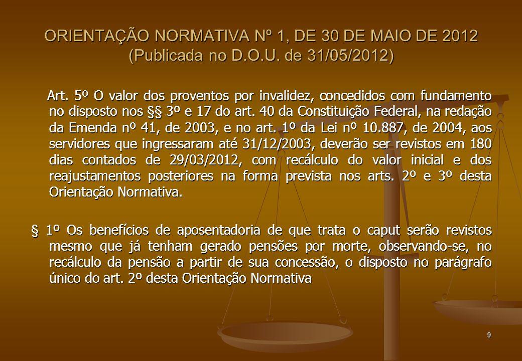 ORIENTAÇÃO NORMATIVA Nº 1, DE 30 DE MAIO DE 2012 (Publicada no D.O.U. de 31/05/2012) Art. 5º O valor dos proventos por invalidez, concedidos com funda