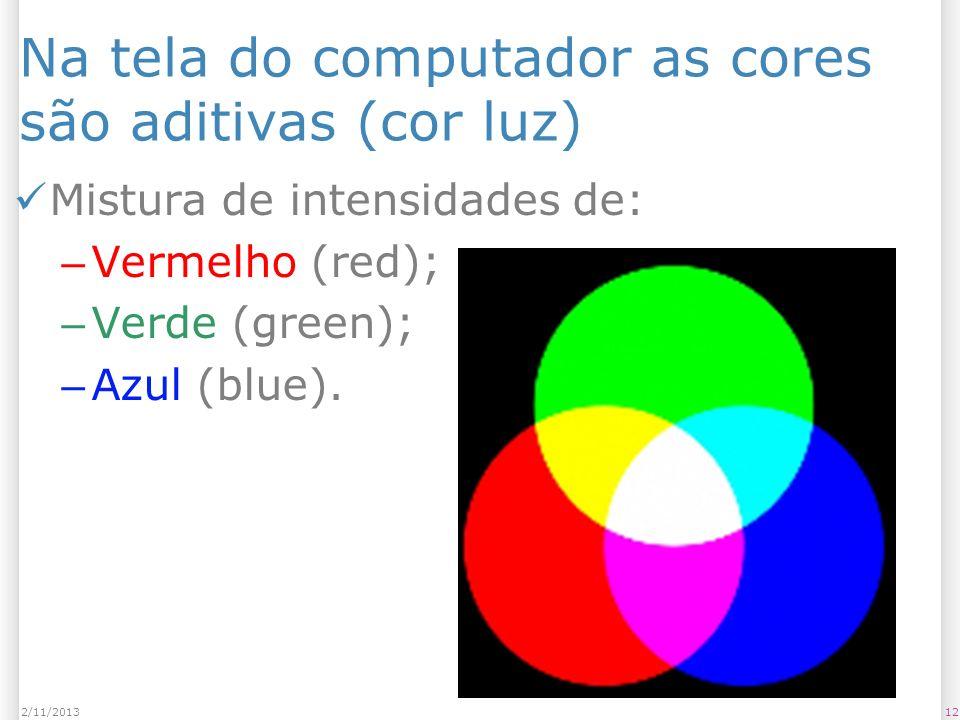 Na tela do computador as cores são aditivas (cor luz) Mistura de intensidades de: – Vermelho (red); – Verde (green); – Azul (blue). 122/11/2013