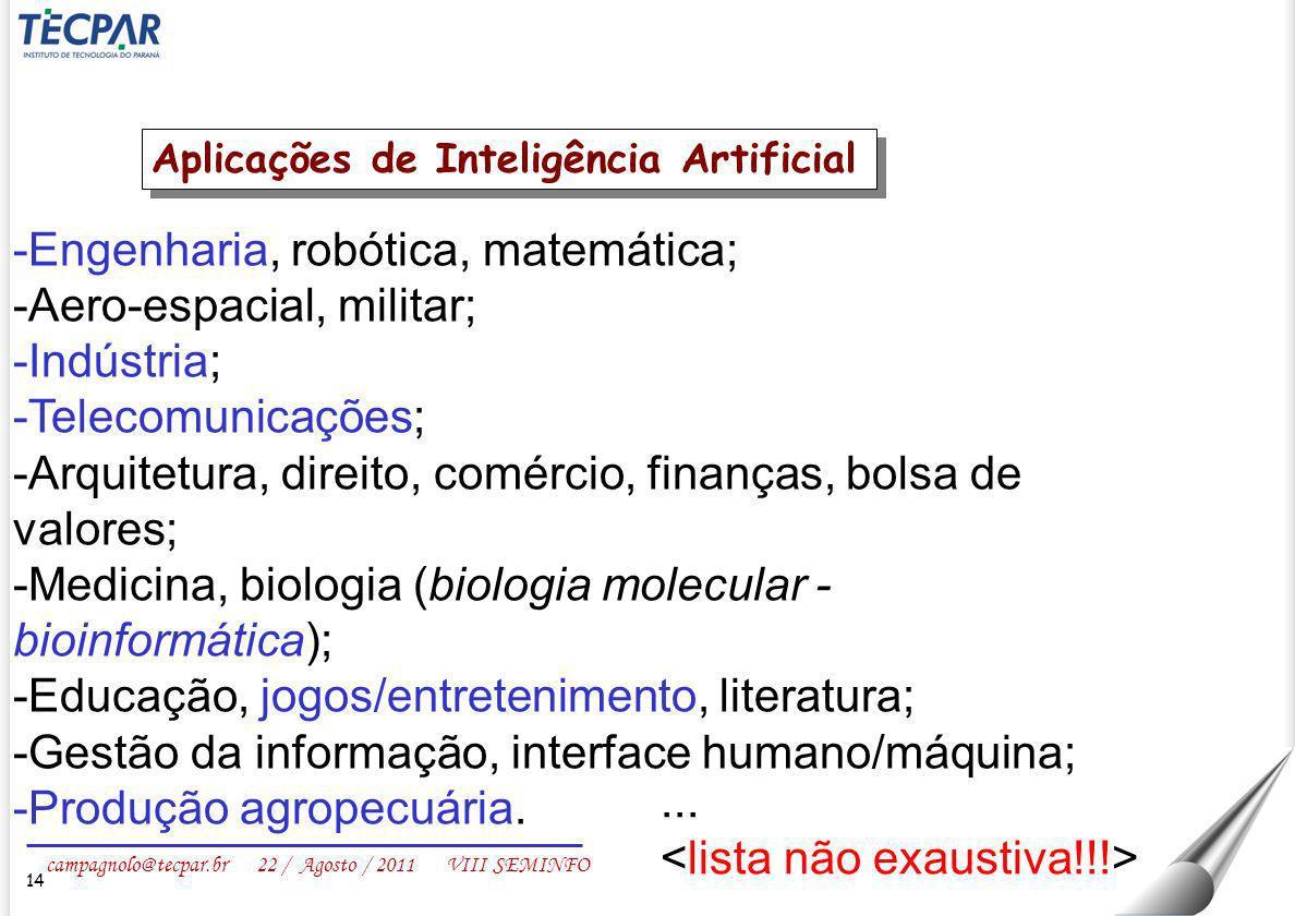 campagnolo@tecpar.br 22 / Agosto / 2011 VIII SEMINFO 14 -Engenharia, robótica, matemática; -Aero-espacial, militar; -Indústria; -Telecomunicações; -Ar