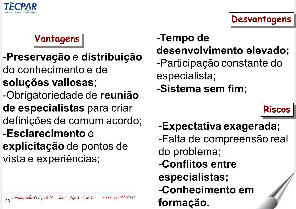 campagnolo@tecpar.br 22 / Agosto / 2011 VIII SEMINFO 20 Vantagens -Preservação e distribuição do conhecimento e de soluções valiosas; -Obrigatoriedade