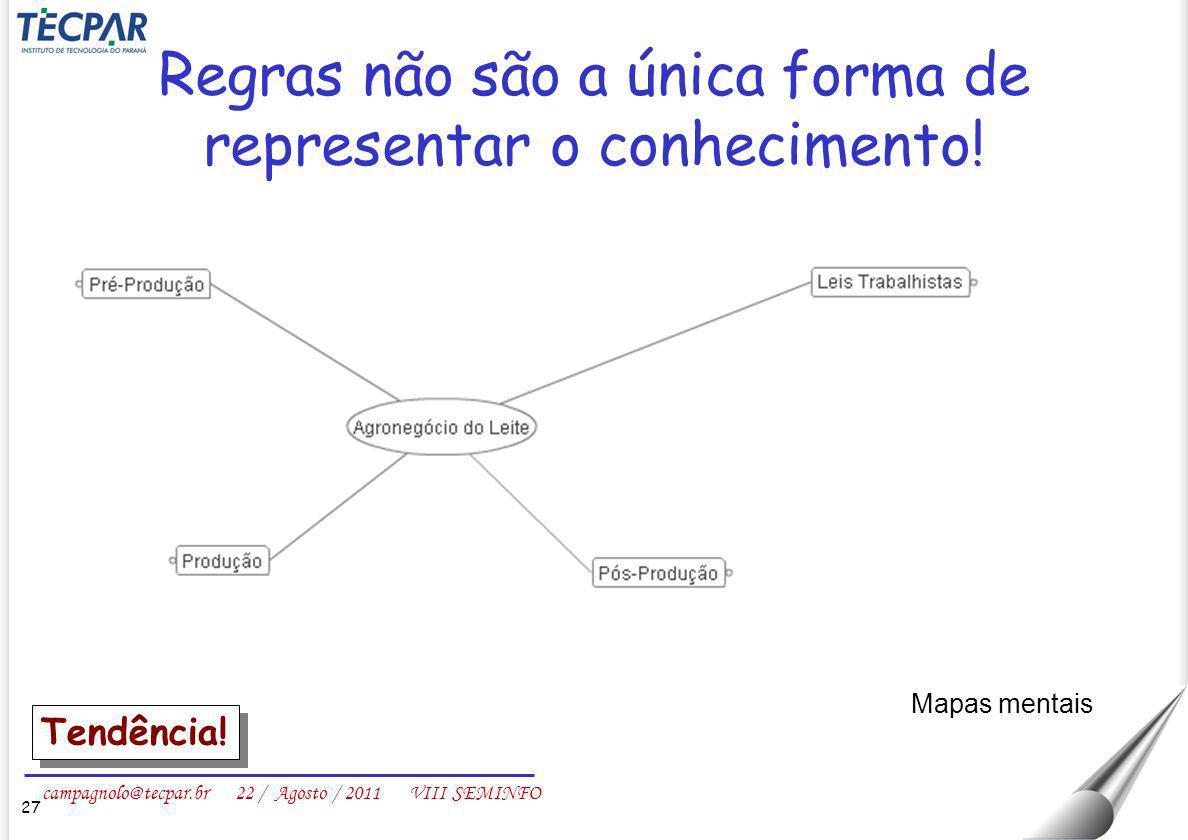 campagnolo@tecpar.br 22 / Agosto / 2011 VIII SEMINFO Regras não são a única forma de representar o conhecimento! 27 Mapas mentais Tendência!