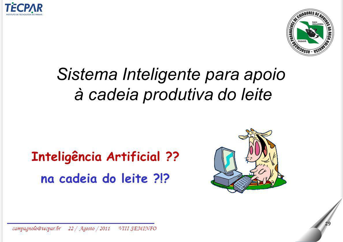 campagnolo@tecpar.br 22 / Agosto / 2011 VIII SEMINFO 29 Inteligência Artificial ?? na cadeia do leite ?!? Sistema Inteligente para apoio à cadeia prod