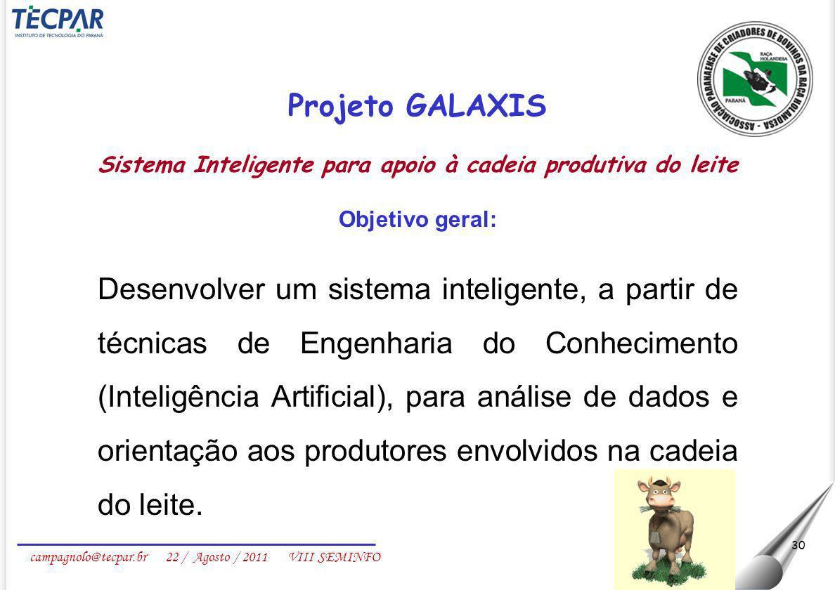 campagnolo@tecpar.br 22 / Agosto / 2011 VIII SEMINFO 30 Projeto GALAXIS Sistema Inteligente para apoio à cadeia produtiva do leite Objetivo geral: Des