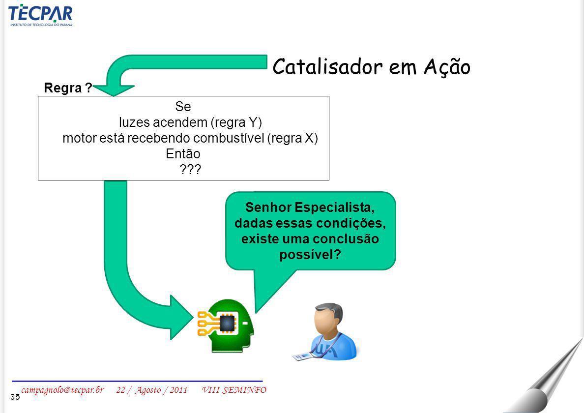 campagnolo@tecpar.br 22 / Agosto / 2011 VIII SEMINFO 35 Catalisador em Ação Se luzes acendem (regra Y) motor está recebendo combustível (regra X) Entã