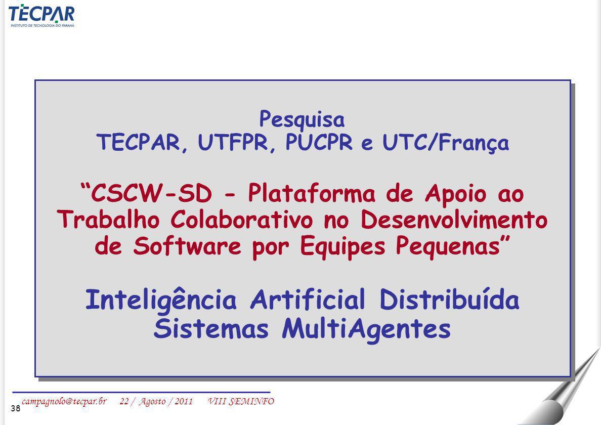 campagnolo@tecpar.br 22 / Agosto / 2011 VIII SEMINFO 38 Pesquisa TECPAR, UTFPR, PUCPR e UTC/França CSCW-SD - Plataforma de Apoio ao Trabalho Colaborat