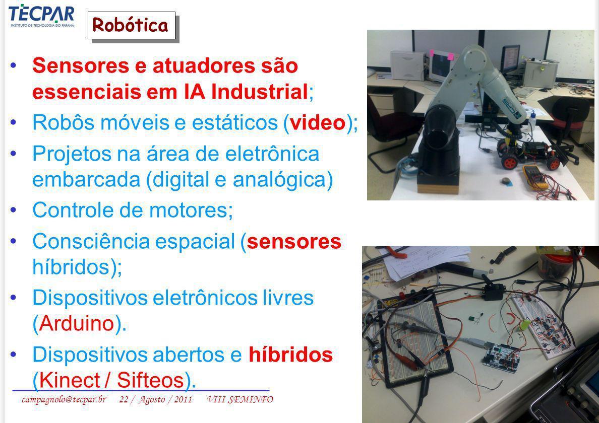 campagnolo@tecpar.br 22 / Agosto / 2011 VIII SEMINFO Sensores e atuadores são essenciais em IA Industrial; Robôs móveis e estáticos (video); Projetos