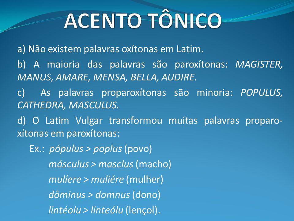 a) Não existem palavras oxítonas em Latim. b) A maioria das palavras são paroxítonas: MAGISTER, MANUS, AMARE, MENSA, BELLA, AUDIRE. c) As palavras pro