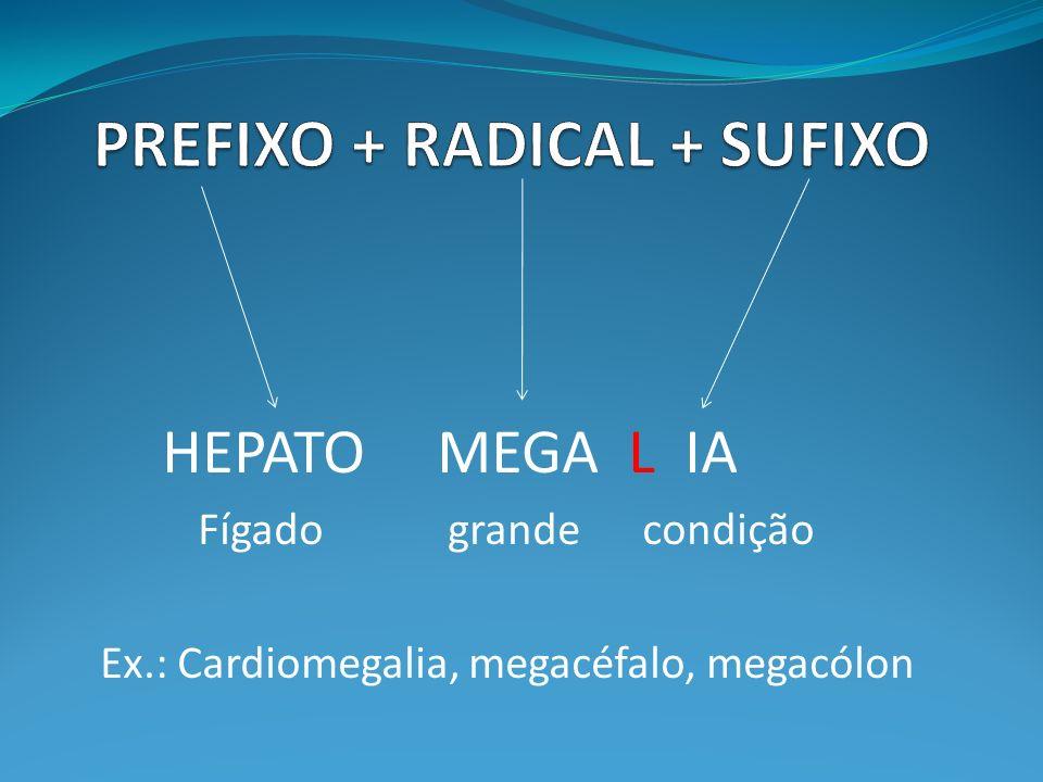 HEPATO MEGA L IA Fígado grande condição Ex.: Cardiomegalia, megacéfalo, megacólon