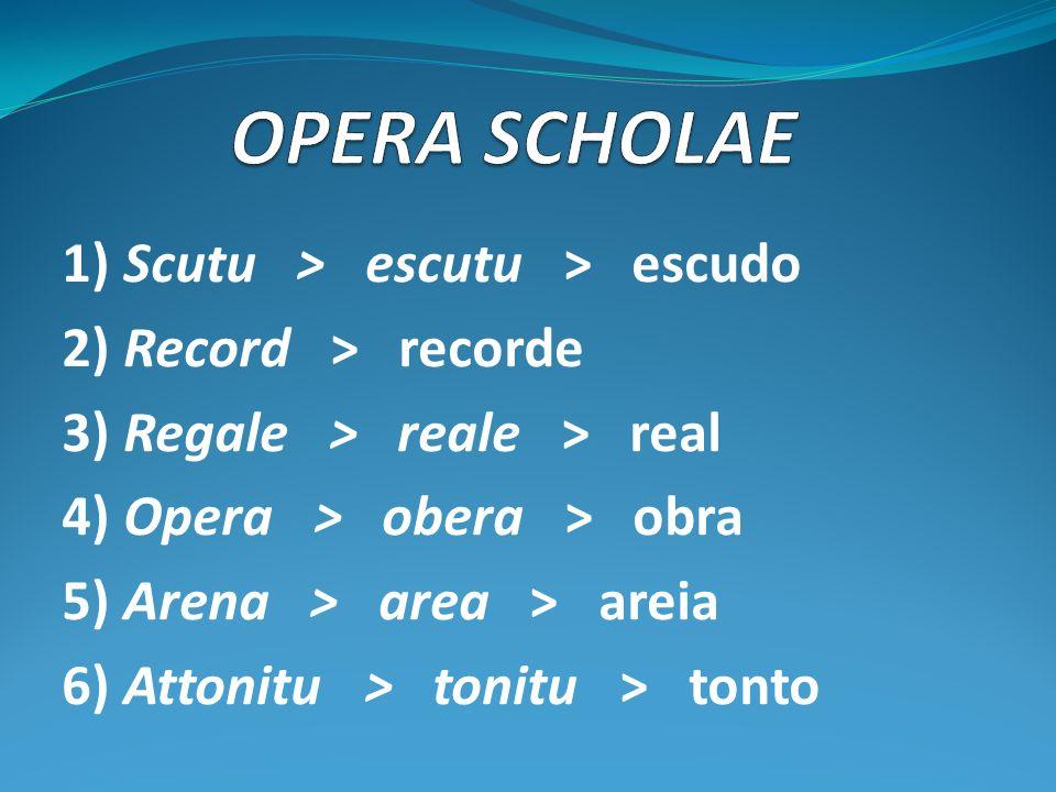 1) Scutu > escutu > escudo 2) Record > recorde 3) Regale > reale > real 4) Opera > obera > obra 5) Arena > area > areia 6) Attonitu > tonitu > tonto
