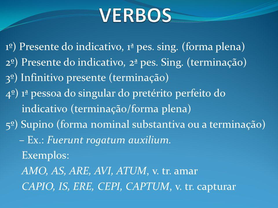 1º) Presente do indicativo, 1ª pes. sing. (forma plena) 2º) Presente do indicativo, 2ª pes. Sing. (terminação) 3º) Infinitivo presente (terminação) 4º