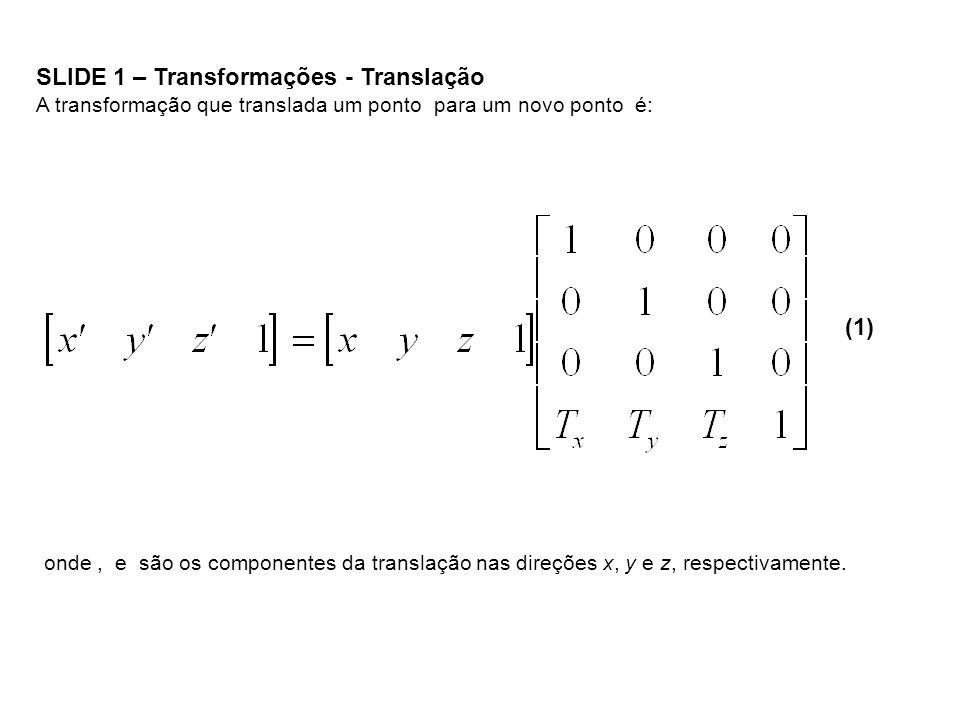 SLIDE 1 – Transformações - Translação A transformação que translada um ponto para um novo ponto é: (1) onde, e são os componentes da translação nas di