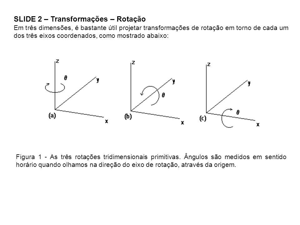 SLIDE 2 – Transformações – Rotação Em três dimensões, é bastante útil projetar transformações de rotação em torno de cada um dos três eixos coordenado