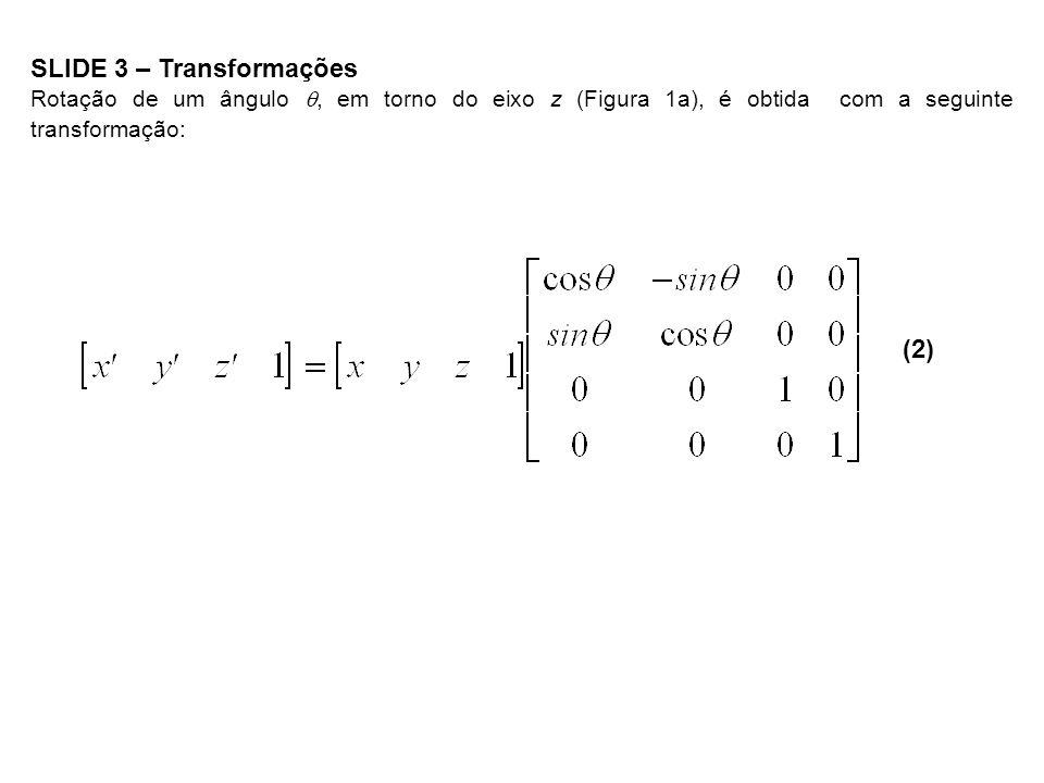 SLIDE 3 – Transformações Rotação de um ângulo, em torno do eixo z (Figura 1a), é obtida com a seguinte transformação: (2)
