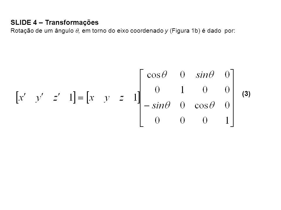 SLIDE 4 – Transformações Rotação de um ângulo, em torno do eixo coordenado y (Figura 1b) é dado por: (3)