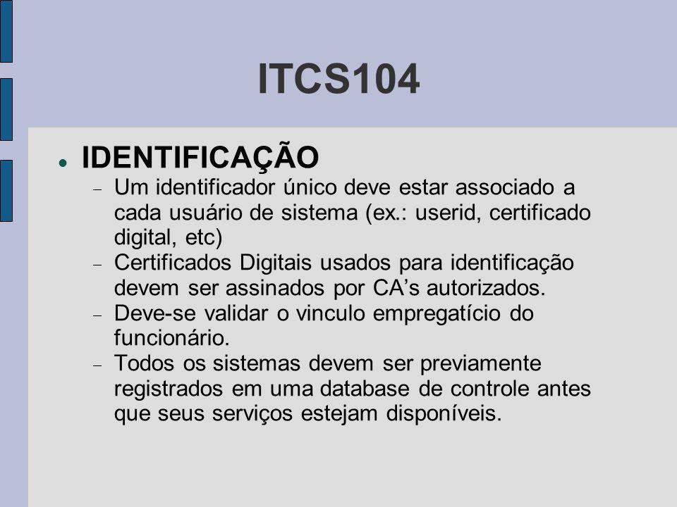 ITCS104 IDENTIFICAÇÃO Um identificador único deve estar associado a cada usuário de sistema (ex.: userid, certificado digital, etc) Certificados Digit