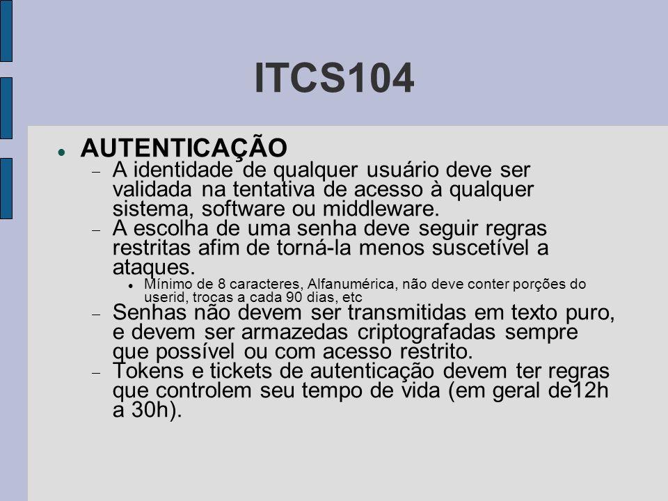 ITCS104 AUTENTICAÇÃO A identidade de qualquer usuário deve ser validada na tentativa de acesso à qualquer sistema, software ou middleware. A escolha d