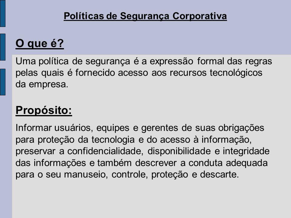 Políticas de Segurança Corporativa O que é? Uma política de segurança é a expressão formal das regras pelas quais é fornecido acesso aos recursos tecn