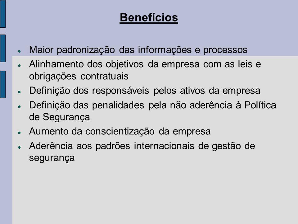Benefícios Maior padronização das informações e processos Alinhamento dos objetivos da empresa com as leis e obrigações contratuais Definição dos resp
