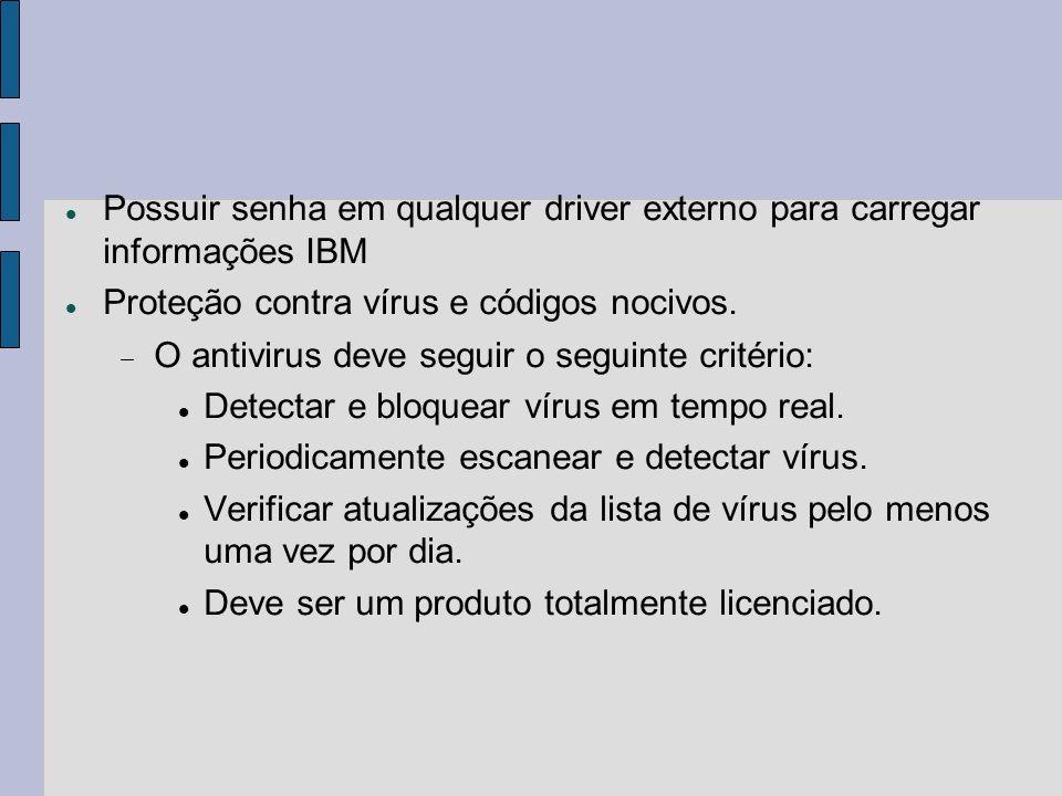 Possuir senha em qualquer driver externo para carregar informações IBM Proteção contra vírus e códigos nocivos. O antivirus deve seguir o seguinte cri