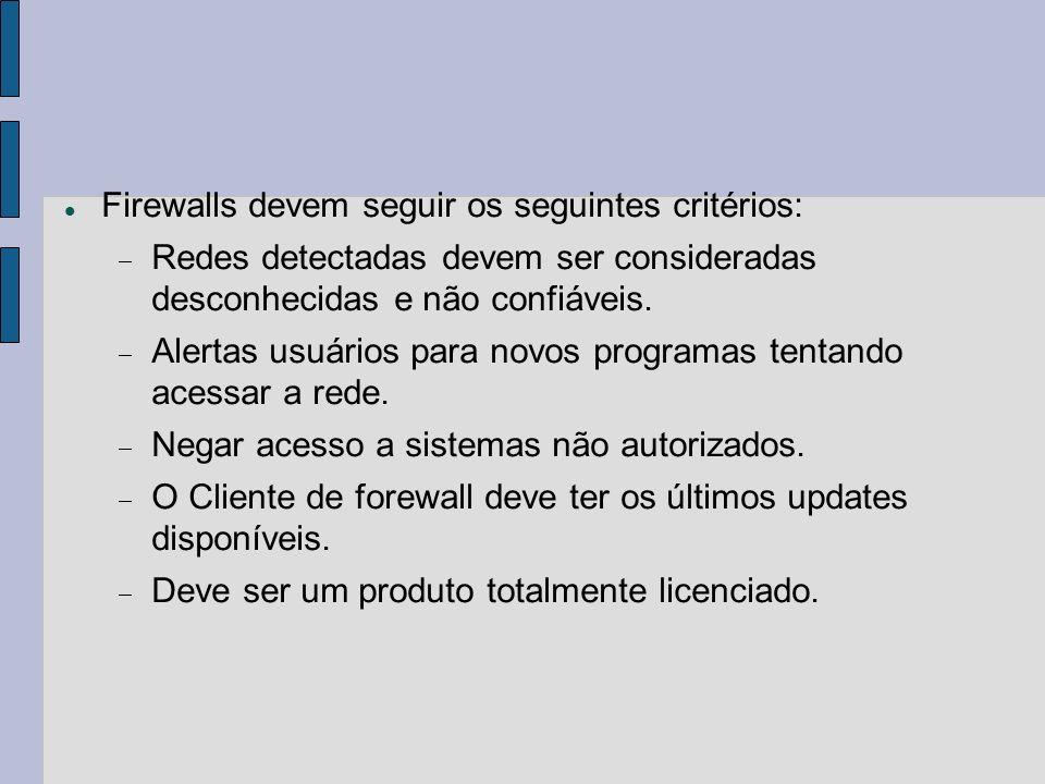 Firewalls devem seguir os seguintes critérios: Redes detectadas devem ser consideradas desconhecidas e não confiáveis. Alertas usuários para novos pro