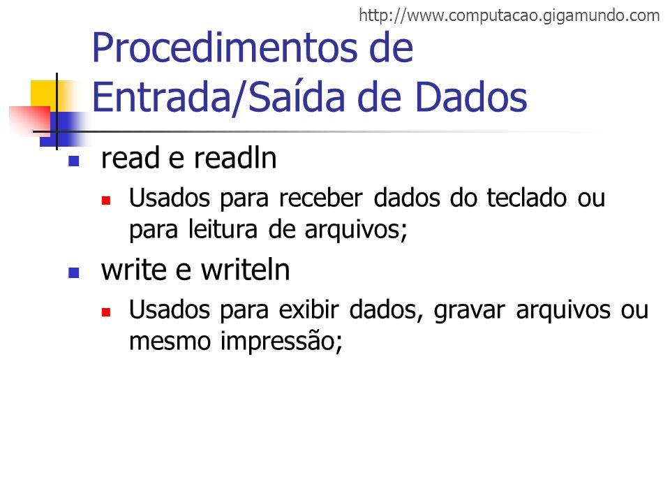 http://www.computacao.gigamundo.com Procedimentos de Entrada/Saída de Dados read e readln Usados para receber dados do teclado ou para leitura de arqu