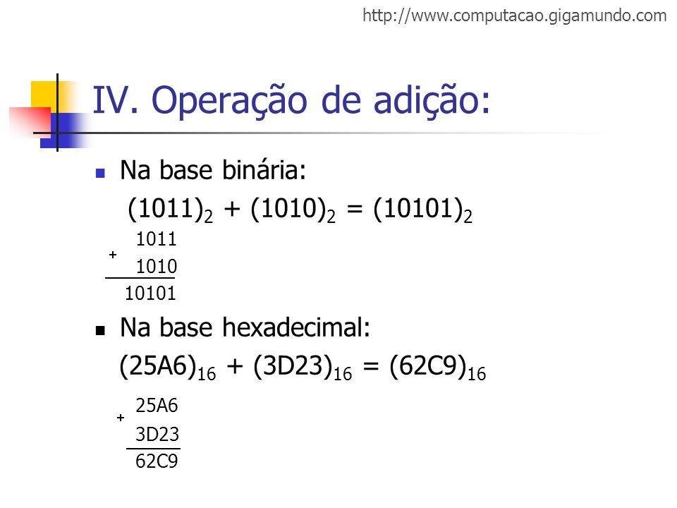 http://www.computacao.gigamundo.com IV. Operação de adição: Na base binária: (1011) 2 + (1010) 2 = (10101) 2 1011 1010 10101 Na base hexadecimal: (25A