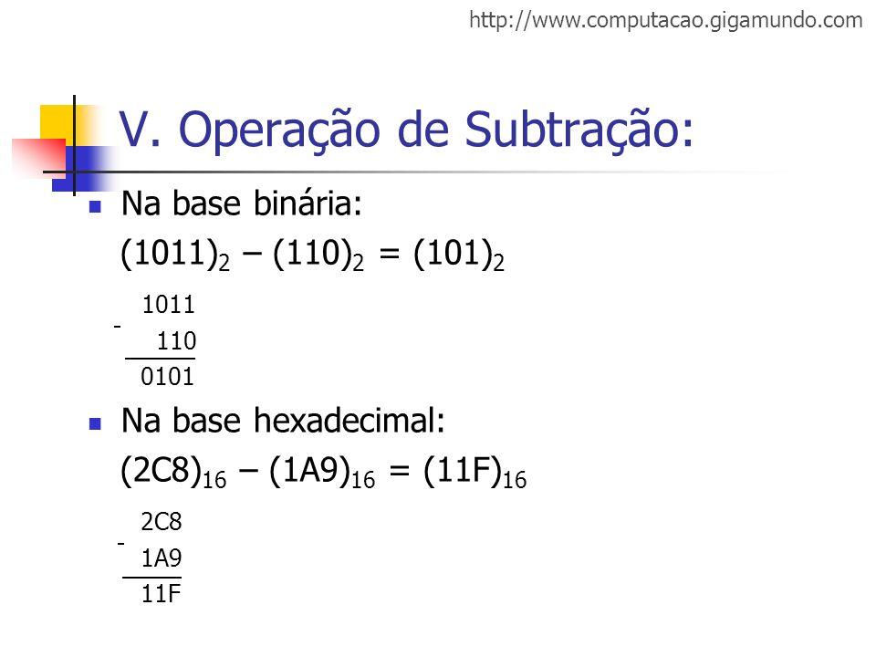 http://www.computacao.gigamundo.com V. Operação de Subtração: Na base binária: (1011) 2 – (110) 2 = (101) 2 1011 110 0101 Na base hexadecimal: (2C8) 1
