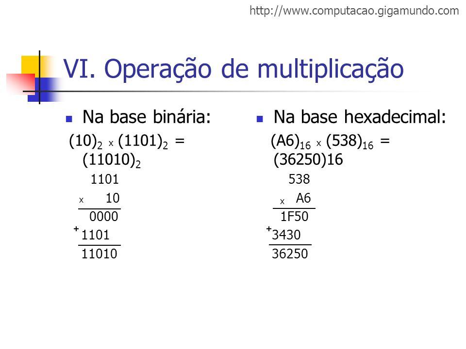 http://www.computacao.gigamundo.com VI. Operação de multiplicação Na base binária: (10) 2 x (1101) 2 = (11010) 2 1101 10 0000 1101 11010 Na base hexad