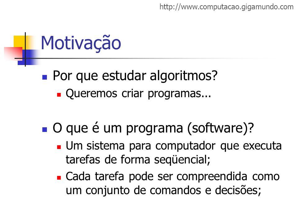 http://www.computacao.gigamundo.com Motivação Por que estudar algoritmos? Queremos criar programas... O que é um programa (software)? Um sistema para