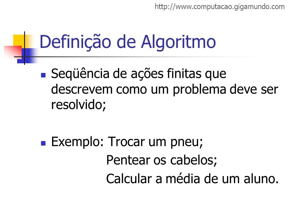 http://www.computacao.gigamundo.com Definição de Algoritmo Seqüência de ações finitas que descrevem como um problema deve ser resolvido; Exemplo: Troc