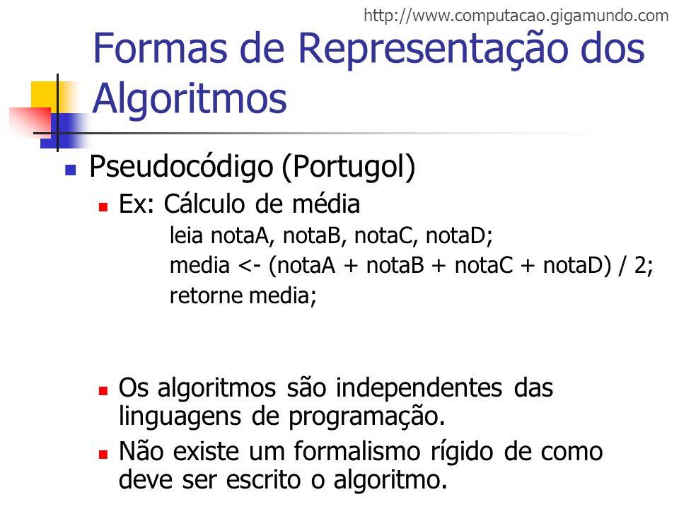 http://www.computacao.gigamundo.com Formas de Representação dos Algoritmos Pseudocódigo (Portugol) Ex: Cálculo de média leia notaA, notaB, notaC, nota