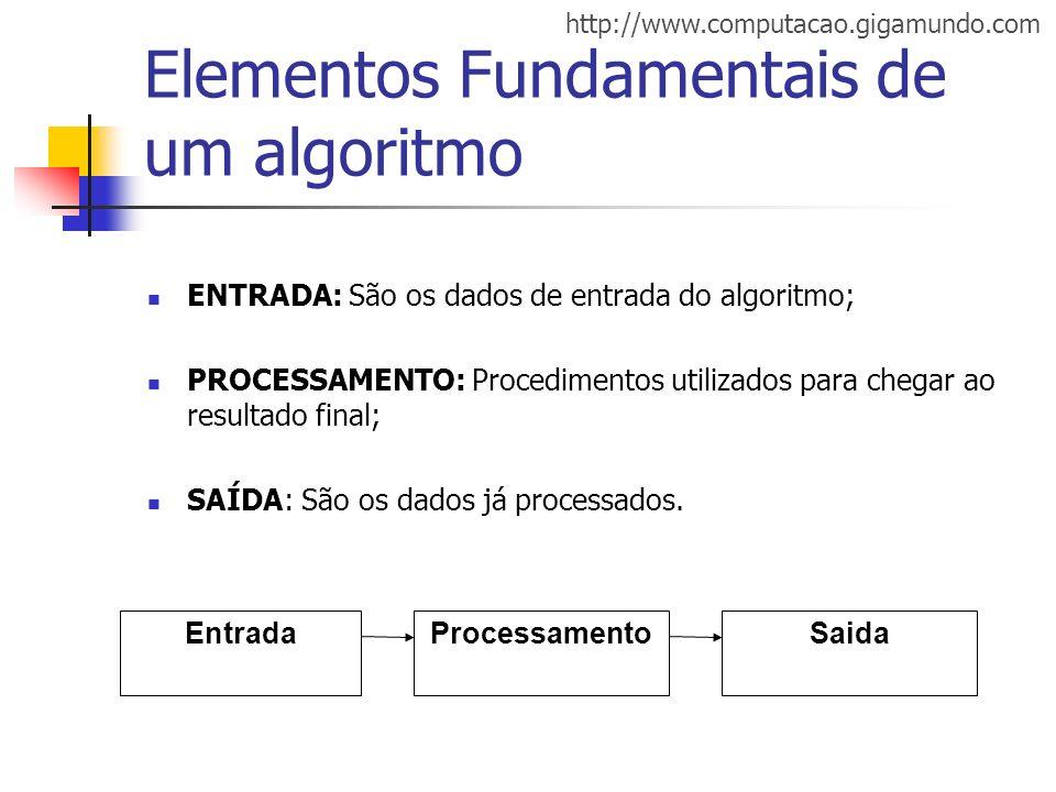 http://www.computacao.gigamundo.com Elementos Fundamentais de um algoritmo ENTRADA: São os dados de entrada do algoritmo; PROCESSAMENTO: Procedimentos
