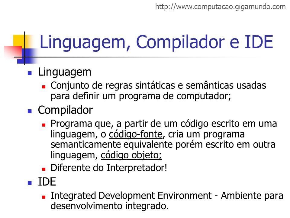 http://www.computacao.gigamundo.com Linguagem, Compilador e IDE Linguagem Conjunto de regras sintáticas e semânticas usadas para definir um programa d