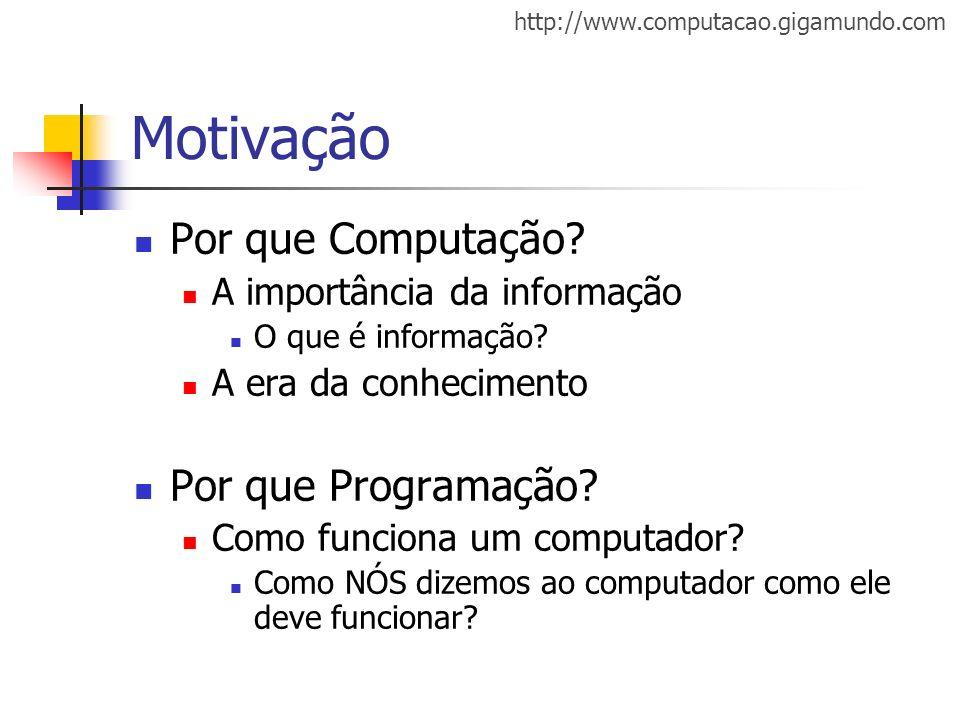 http://www.computacao.gigamundo.com Motivação Por que Computação? A importância da informação O que é informação? A era da conhecimento Por que Progra