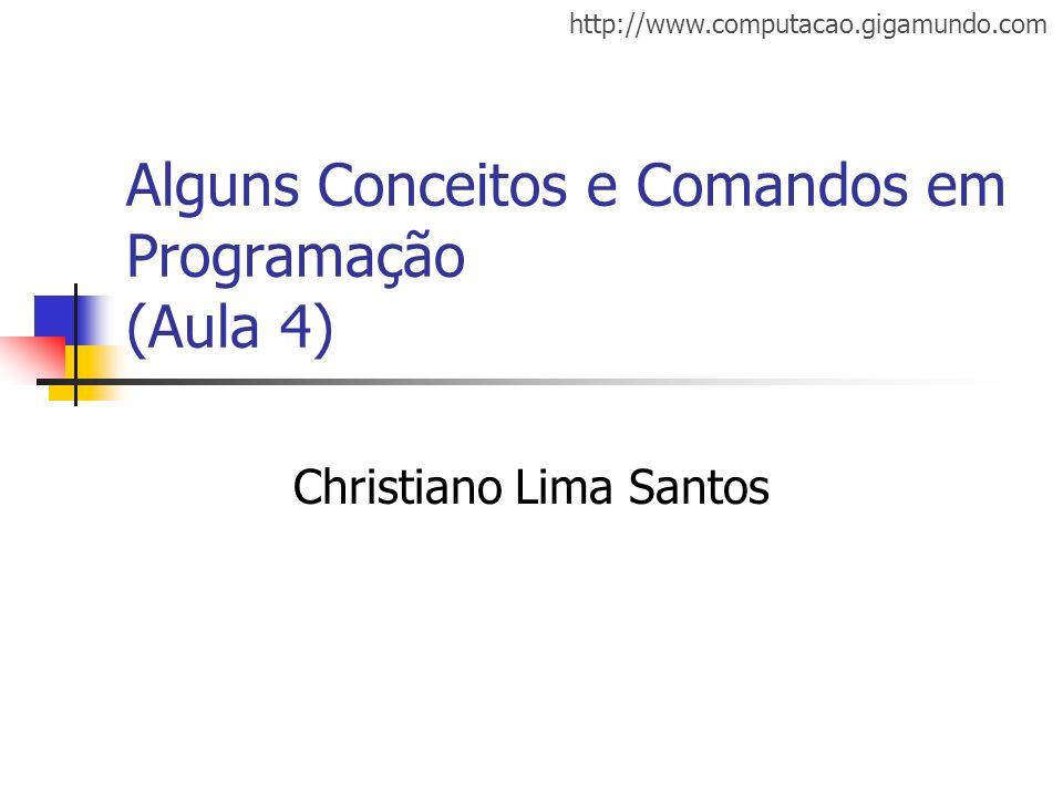 http://www.computacao.gigamundo.com Alguns Conceitos e Comandos em Programação (Aula 4) Christiano Lima Santos