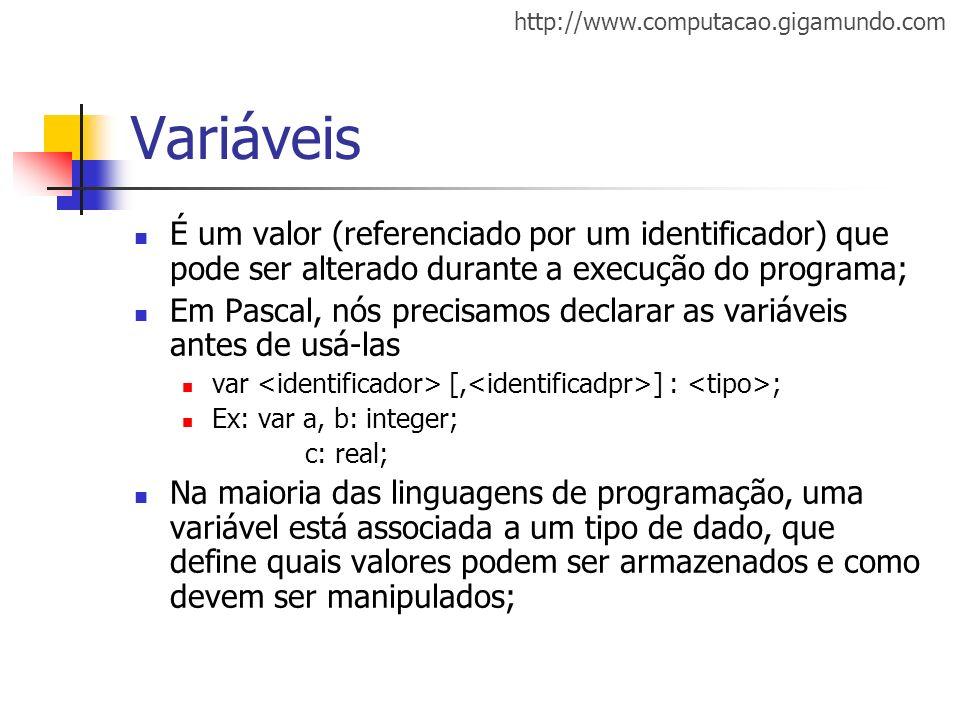 http://www.computacao.gigamundo.com Variáveis É um valor (referenciado por um identificador) que pode ser alterado durante a execução do programa; Em
