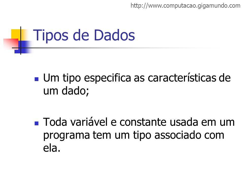 http://www.computacao.gigamundo.com Tipos de Dados Um tipo especifica as características de um dado; Toda variável e constante usada em um programa te