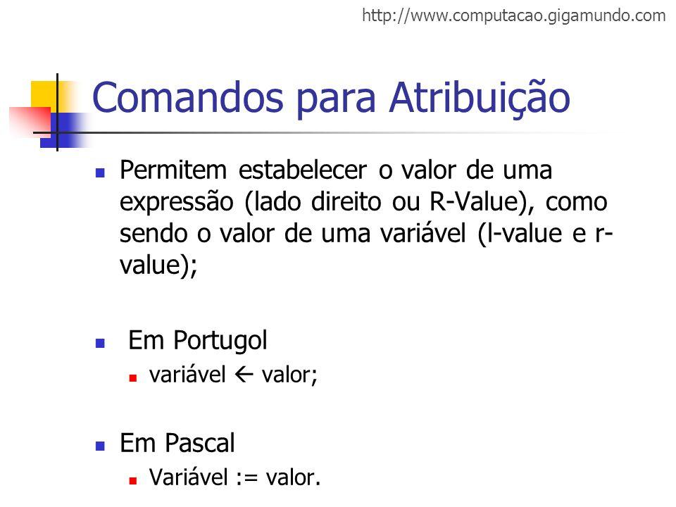 http://www.computacao.gigamundo.com Comandos para Atribuição Permitem estabelecer o valor de uma expressão (lado direito ou R-Value), como sendo o val