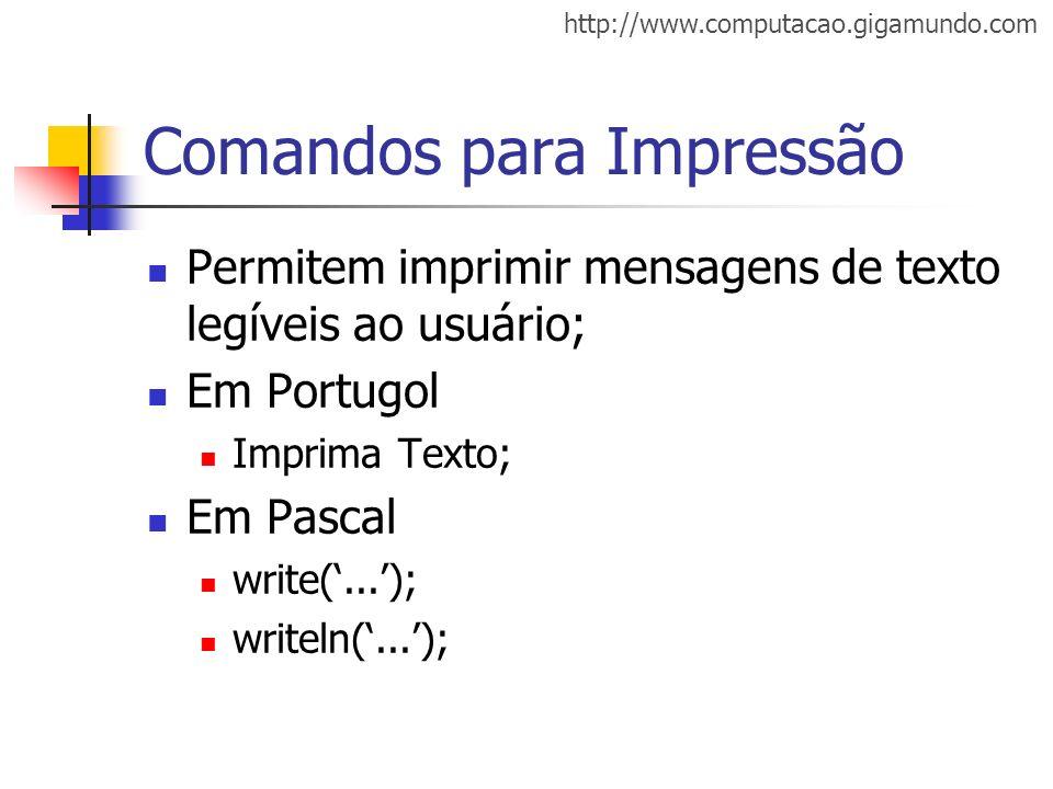 http://www.computacao.gigamundo.com Comandos para Impressão Permitem imprimir mensagens de texto legíveis ao usuário; Em Portugol Imprima Texto; Em Pa