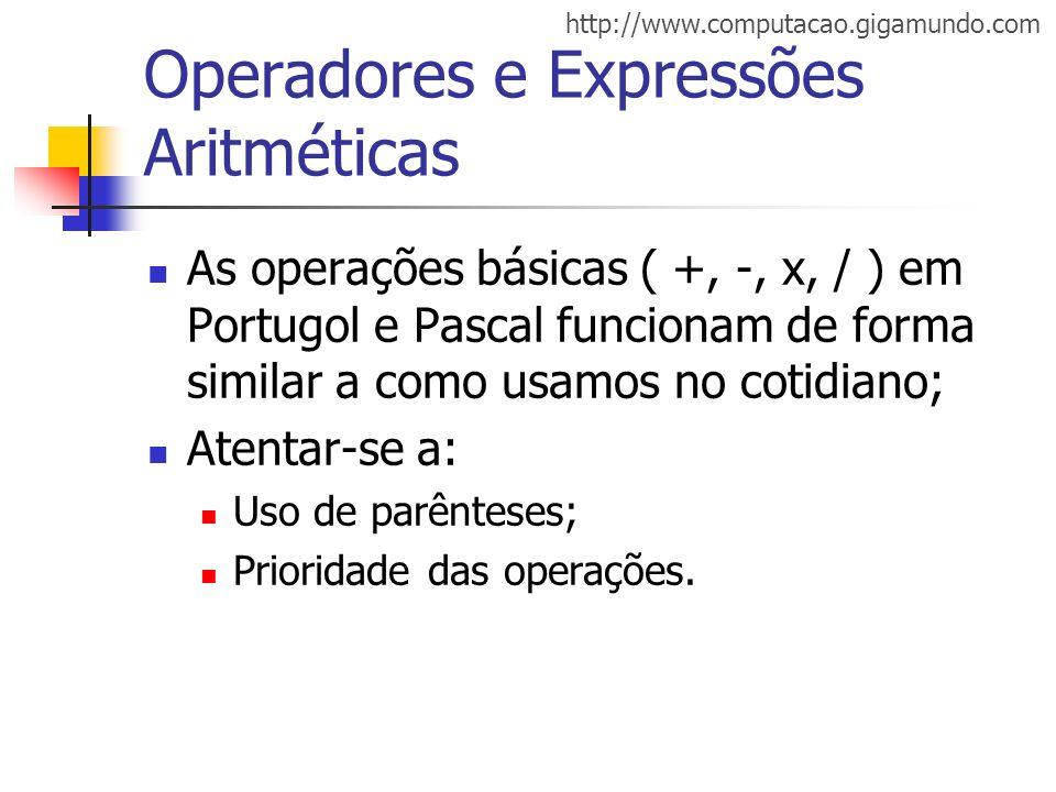 http://www.computacao.gigamundo.com Operadores e Expressões Aritméticas As operações básicas ( +, -, x, / ) em Portugol e Pascal funcionam de forma si
