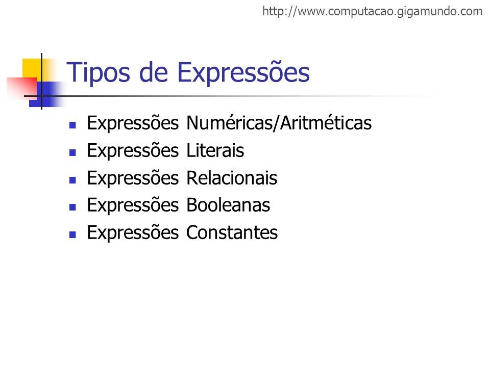 http://www.computacao.gigamundo.com Tipos de Expressões Expressões Numéricas/Aritméticas Expressões Literais Expressões Relacionais Expressões Boolean