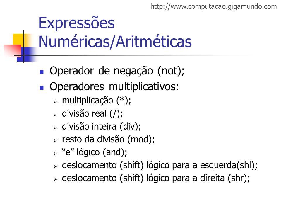http://www.computacao.gigamundo.com Expressões Numéricas/Aritméticas Operador de negação (not); Operadores multiplicativos: multiplicação (*); divisão