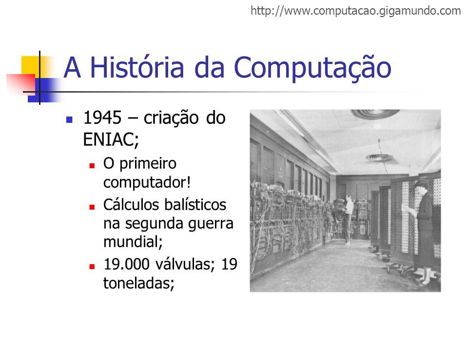 http://www.computacao.gigamundo.com A História da Computação 1945 – criação do ENIAC; O primeiro computador! Cálculos balísticos na segunda guerra mun