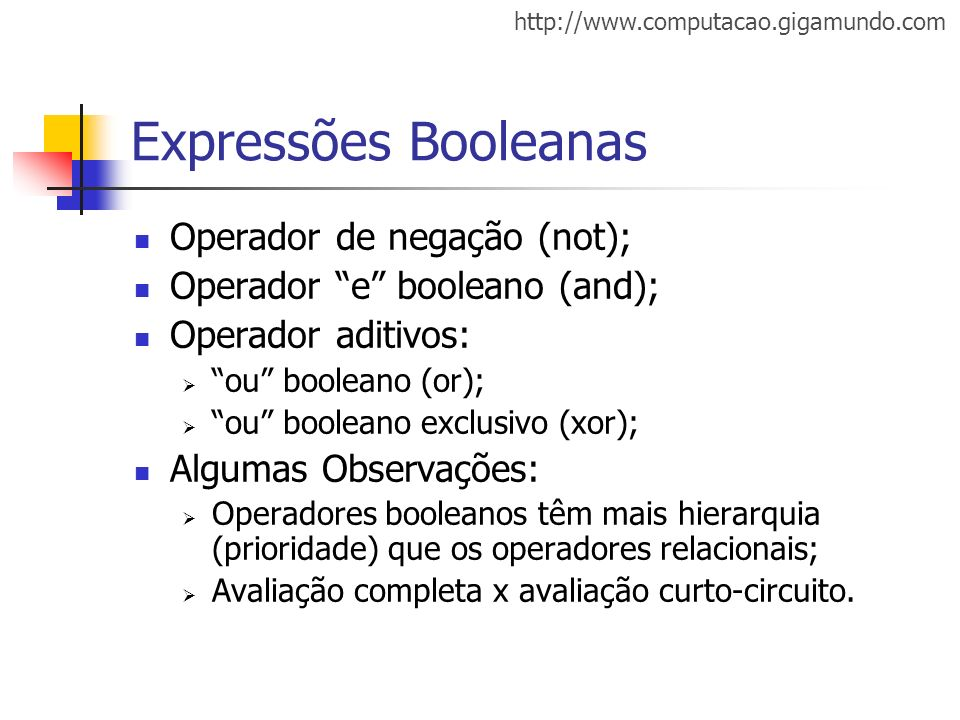 http://www.computacao.gigamundo.com Expressões Booleanas Operador de negação (not); Operador e booleano (and); Operador aditivos: ou booleano (or); ou