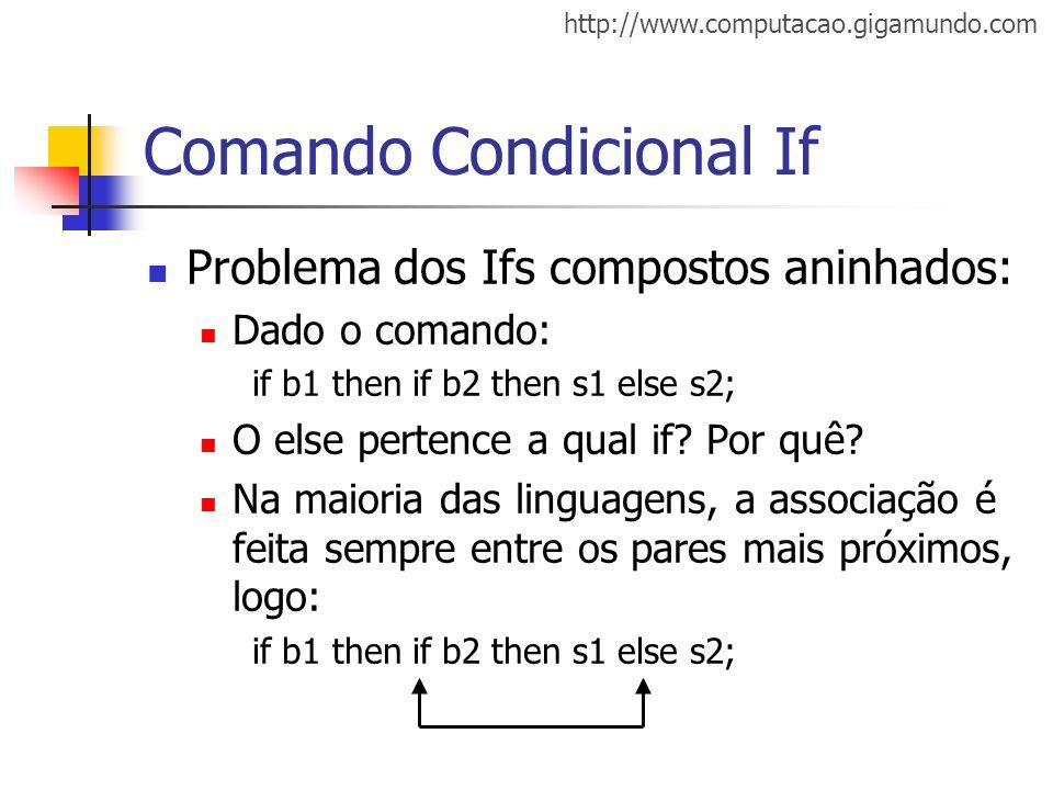 http://www.computacao.gigamundo.com Comando Condicional If Problema dos Ifs compostos aninhados: Dado o comando: if b1 then if b2 then s1 else s2; O e